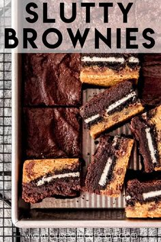 Slutty Brownies are an over-the-top triple decker mashup of chocolate chip cookie dough, double stuff Oreos, and fudgy brownies all in one dessert! This is one dessert that is hard to resist, and you might feel guilty about it afterwards, but you can't help wanting more. #brownies #oreos #chocolatechipcookies #bars #best #homemade #fromscratch #easy #dessert Oreo Bars, Oreo Brownies, Chocolate Chip Cookie Bars, Oreos, Slutty Brownies Recipe Easy, Brownie Recipe Video, Brownie Recipes, Refrigerated Cookie Dough, Caramel Bars