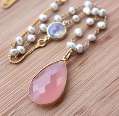 Pink Chalcedony, Opalite, and Freshwater Pearl Necklace - Long, Layering Necklace. $79.00, via Etsy.