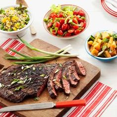 Soy-Scallion Flank Steak -- A marinade of Asian ingredients adds a punch of flavor to this steak, so all you need are some simple steamed veggies on the side. #myplate #protein