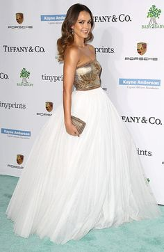 The Golden Doll: Jessica Alba looked fab in Andrew Gn Metallic strapless bustier top + full-volume white skirt ball-gown at Baby2Baby Gala 2014. Best Dressed