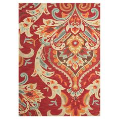 Looped rug with an oversized paisley motif in red.   Product: RugConstruction Material: PolyesterCol...