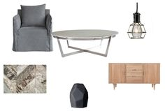 Shabby Sheike! Get this look....  Work Pendant Light- Chrome, Loco Herringbone Brown and Grey Cowhide Rug- Art Hide, Danish Black Geometric Vase, Connie Marble Table, Hugo American Oak Sideboard.