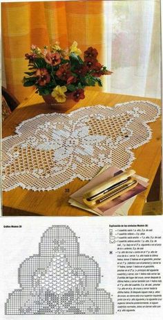 Crochet Table Runner Vintage Flower 58 I - Diy Crafts Mandala Au Crochet, Crochet Doily Diagram, Filet Crochet Charts, Crochet Doily Patterns, Thread Crochet, Crochet Designs, Crochet Table Runner Pattern, Crochet Tablecloth, Beau Crochet