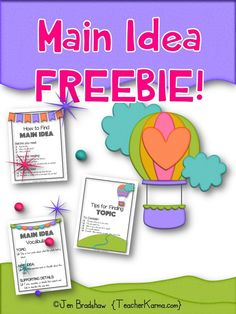 Main Idea FREE!  Add this free product to your reading comprehension test prep library!  Main Idea anchor charts are perfect for small group instruction or RTI intervention groups.  TeacherKarma.com