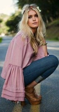 peasant style pink top + hippie headband
