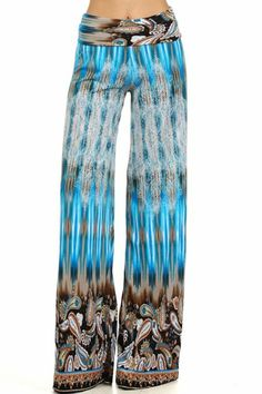 Printed Wide Leg Palazzo Pants (Bh08) at Amazon Women's Clothing store