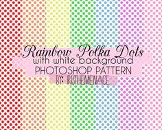 Rainbow Polka Dots White Bg Photoshop Pattern by iristhemenace.deviantart.com on @deviantART