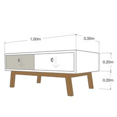 Una mesa de centro perfecta para cualquier estancia. Su composición de cajones la convierte en un mueble completamente terminado por todas sus caras. Un total de 4 cajones accesibles desde ambas caras, 2 hacia un lado y 2 hacia el otro.  Se juega con el blanco y el gris en la composición