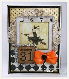 Flapper Witch Halloween Greeting Card Handmade by PollysPaper, $7.00