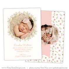 Newborn Birth Announcement Templates for Photographers #photography #photoshop #templates #baby #newborn #card #pink #girl #floral #wreath #girls