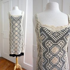 Vintage Boho Ivory White lace Dress  by stateandmainvintage