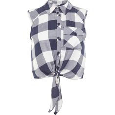 Miss Selfridge Check Tie Front Shirt, Blue Multi (£28) ❤ liked on Polyvore