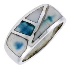 "Sterling Silver Fancy Band, w/Blue-Green Mother of Pearl Inlay, 7/16"" (11mm) wide, size 7.5 Sabrina Silver. $37.50"