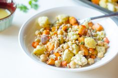This warm salad of colorful fall vegetables and the hearty grain farro ...