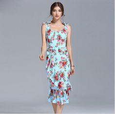2017 Floral Print Ruffled Dress - free shipping worldwide