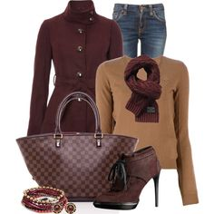 """""""Military Coat Casual"""" by happygirljlc on Polyvore (love, love, love the rich, chocolatey colors)"""