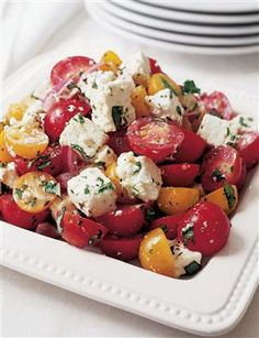 TOMATO FETA SALAD - great with grilled meats or chicken and the perfect summer dish on a warm night.