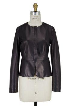 Black Leather Peplum Jacket