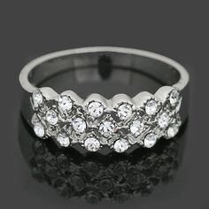 White Gold Plated Women Clear Crystal Wedding Party Ring SR46
