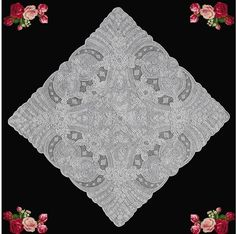 Vintage Antique Handkerchief ~ this piece includes needlelace filling and a little drawnwork to outline some of the motifs ~ described by seller as Heavily Embroidered Appenzell Lace ~ featured in EBay alerts by Lace News (Jan 2012)