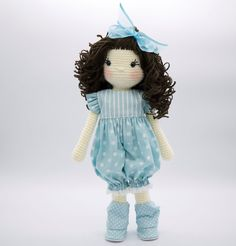 Amigurumi crochet doll - Sweet doll in an aqua blue striped and polka dot romper or playsuit