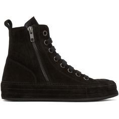 Ann Demeulemeester Black Suede High-Top Sneakers ($895) ❤ liked on Polyvore featuring shoes, sneakers, black, high top sneakers, black suede shoes, black sneakers, lace up sneakers and black hi top sneakers