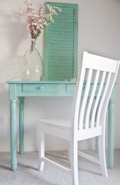 551 East Furniture Design The desk is painted in Jargon Jade by Sherwin Williams and the chair is Ballet White by Behr.  Both pieces are heavily distressed and chippy, aged with Minwax Golden Oak stain and sealed with Annie Sloan clear wax.