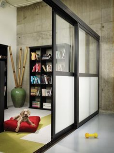 room divider cat# 003 black finish, custom design, clear and opaque laminated glass