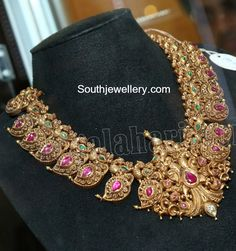 Mango Necklace latest jewelry designs - Page 2 of 42 - Indian Jewellery Designs India Jewelry, Gold Jewelry, Jewelery, Temple Jewellery, Gold Bangles, Antique Necklace, Antique Jewelry, Antique Gold, Indian Jewellery Design