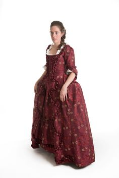 Too bright and shiny, and a bit too late in the period, but maybe a good place to start -- 18th Century Robe a la Francais in by HandBoundCostumes on Etsy