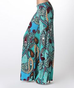 Love this Turquoise Paisley Palazzo Pants by BOLD & BEAUTIFUL on #zulily! #zulilyfinds