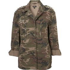 TOPSHOP Cone Stud Camo Jacket ($60) ❤ liked on Polyvore featuring outerwear, jackets, tops, shirts, khaki, khaki field jacket, camouflage army jacket, camo jacket, khaki jacket and khaki military jacket