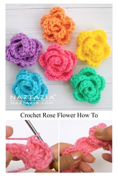 Crochet Applique Patterns Free, Crochet Flower Patterns, Crochet Stitches, Knitting Patterns, Free Crochet Rose Pattern, Blanket Patterns, Blanket Crochet, Crochet Video, Diy Crochet