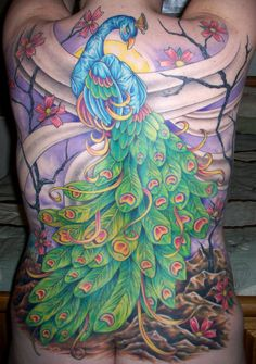 Japanese Style Peacock: Part 11  Nothing like jumping in the deep end for a first time tattoo...