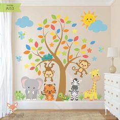 Modelo Safari Tree - Little Dreamer Deco Playroom Design, Baby Room Design, Boys Room Decor, Kids Decor, Kids Bedroom, Preschool Classroom Decor, Deco Jungle, Diy Wall Painting, Kids Room Paint