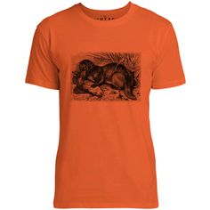Mintage Otter with Fish Mens Fine Jersey T-Shirt (Orange)