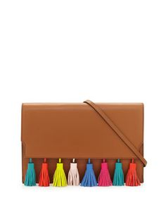 Sofia+Leather+Tassel+Clutch+Bag,+Almond+by+Rebecca+Minkoff+at+Neiman+Marcus.