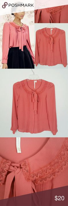 """LC Lauren Conrad Runway Collection Pintuck Blouse This blouse is NWOT no flaws. From the LC LAUREN Conrad Runway Collection, pintuck tie-neck blouse. Rose Color. 100% polyester. Armpit to armpit 17"""", neck to hem 21"""", sleeves 19 """" width at waist 19"""" LC Lauren Conrad Tops Blouses"""