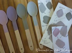 Having a purple, mauve and grey moment this week !  Chalk Paint TM decorative paint by Annie Sloan.  Timber spoons (L to R) show Paloma (not shown well), Henrietta, Emile, French Linen, and Paris Grey.  Cards show mixes of these.  So pretty and we painted up heaps of things in this palette !