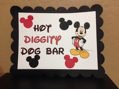 Mickey Mouse Minnie Mouse Disney Birthday Party Hot Diggity a Dog Bar Sign Banner