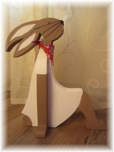Wooden Art, Wooden Crafts, Diy And Crafts, Crafts For Kids, Fun Projects, Wood Projects, Easter Paintings, Wooden Rabbit, Wood Animal
