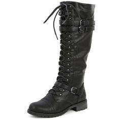 competitive price 917fa 8156c Wild Diva Womens Fashion Military Knee High Combat Boots Shoes Black PU 11  -- You can find more details by visiting the image link. naif