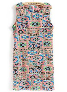 Red Sleeveless Geometric Print Back Zipper Dress - Sheinside.com