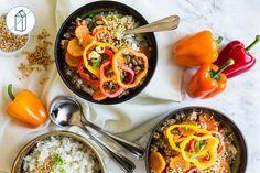 Bol de porc & légumes à la thaïlandaise avec riz à la citronnelle