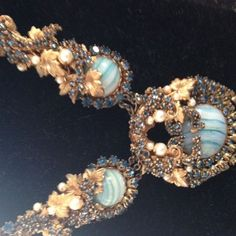 Vintage Signed Miriam Haskell Turquoise and Pearl Necklace | eBay