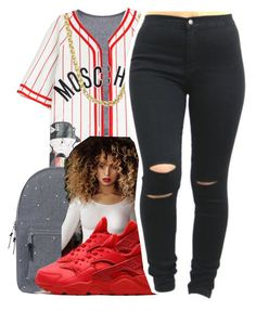 """""""R.I.C.O."""" by queen-vanessa ❤ liked on Polyvore featuring Moschino, Sterling Essentials, Herschel Supply Co. and NIKE"""