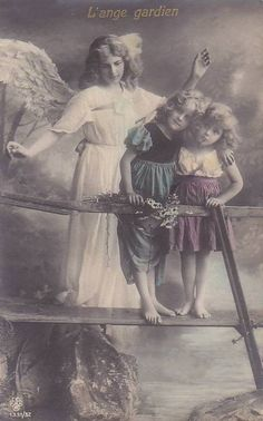 Original Antique RARE German Photo Postcard (Postmarked in France, Famous Young Actress Grete Reinwald Romantic Fantasy with Best Friend and Guardian Angel Vintage Children Photos, Vintage Pictures, Vintage Images, Vintage Art, Gardian Angel, Angeles, I Believe In Angels, Angel Pictures, Angels Among Us