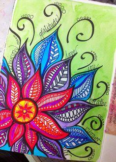 Art journal page - intention mandala mandala canvas, mandala painting, painting & drawing, Kunstjournal Inspiration, Art Journal Inspiration, Painting Inspiration, Mandala Art, Mandala Canvas, Mandala Painting, Ideias Diy, Zentangle Patterns, Zentangles