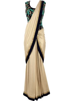 Gold prestitched sari gown available only at Pernia's Pop-Up Shop.