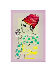 Sixties Fashion Ink and Watercolor Print 11x14 by ShopMANDYLO, $30.00